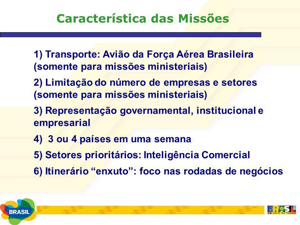 Característica das Missões 1) Transporte: Avião da Força Aérea Brasileira (somente para missões ministeriais) 2) Limitação do número de empresas e set