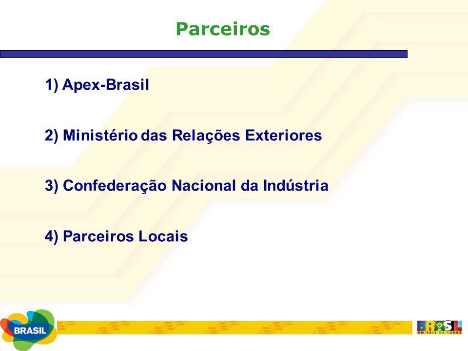 Parceiros 1) Apex-Brasil 2) Ministério das Relações Exteriores 3) Confederação Nacional da Indústria 4) Parceiros Locais