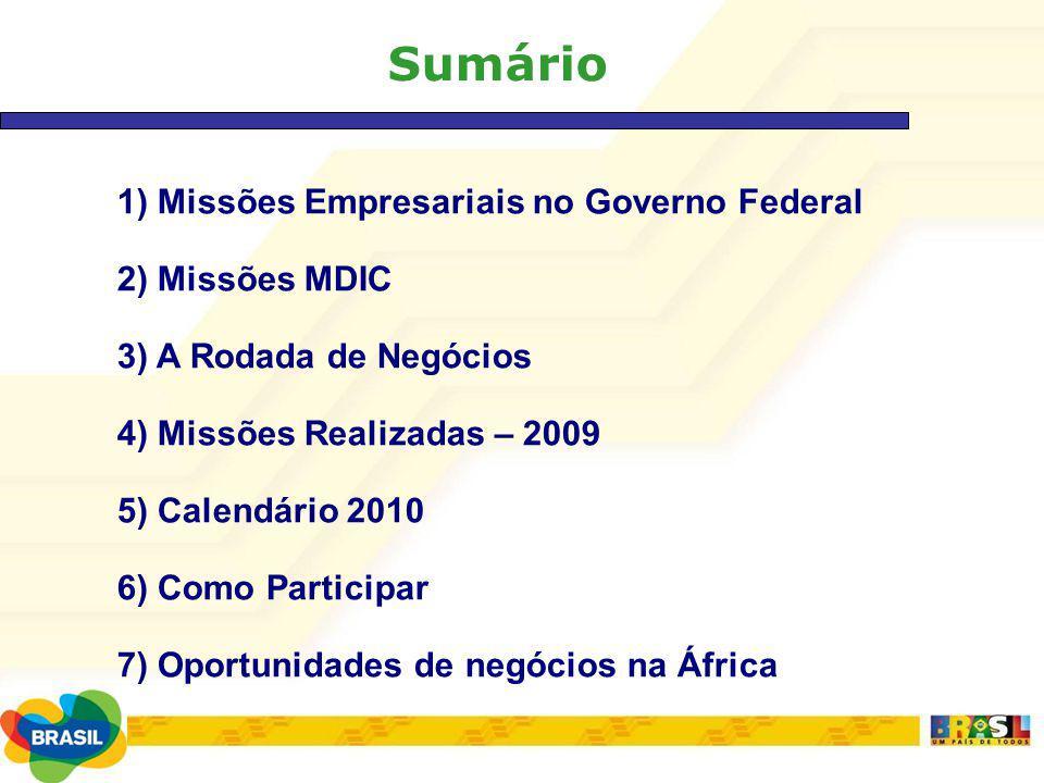 Sumário 1) Missões Empresariais no Governo Federal 2) Missões MDIC 3) A Rodada de Negócios 4) Missões Realizadas – 2009 5) Calendário 2010 6) Como Par