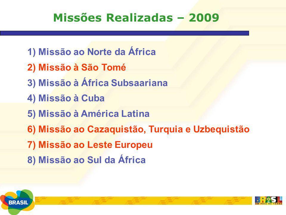 Missões Realizadas – 2009 1) Missão ao Norte da África 2) Missão à São Tomé 3) Missão à África Subsaariana 4) Missão à Cuba 5) Missão à América Latina