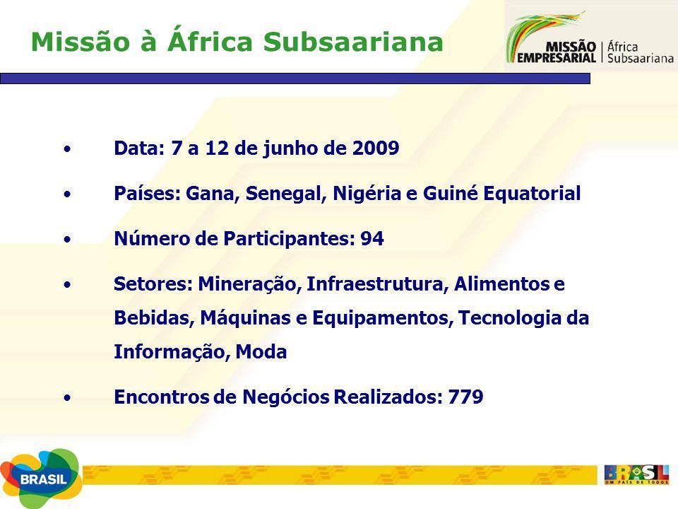 Missão à África Subsaariana Data: 7 a 12 de junho de 2009 Países: Gana, Senegal, Nigéria e Guiné Equatorial Número de Participantes: 94 Setores: Miner