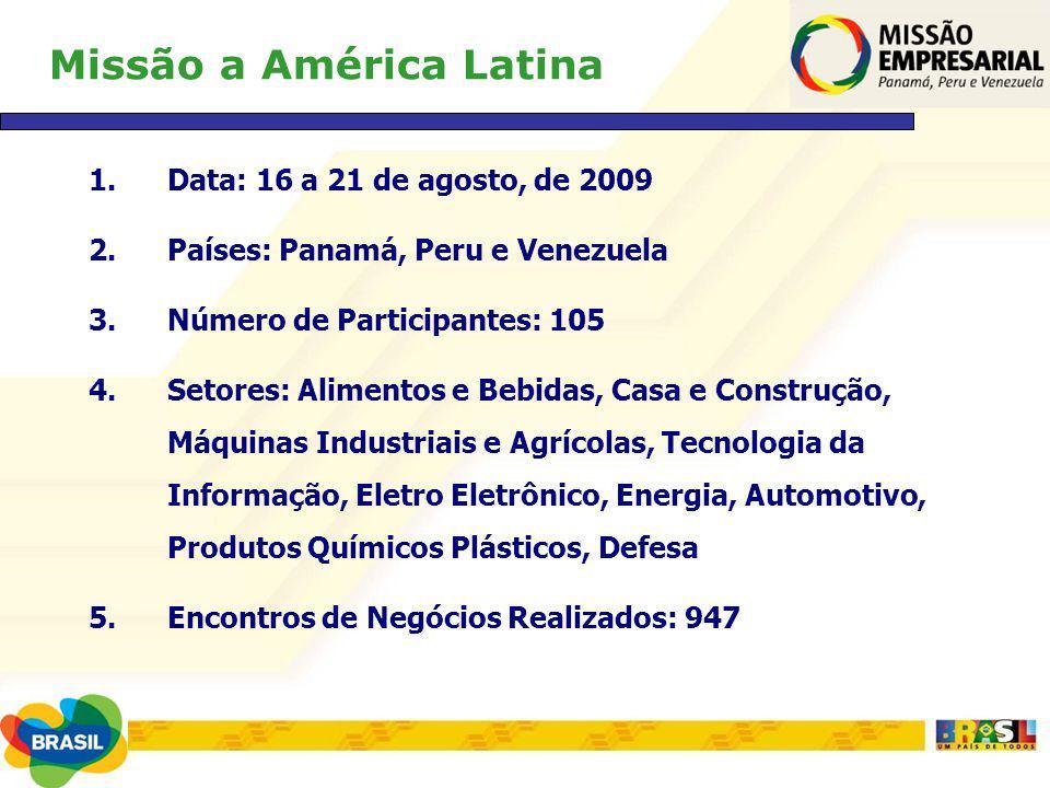 Missão a América Latina 1.Data: 16 a 21 de agosto, de 2009 2.Países: Panamá, Peru e Venezuela 3.Número de Participantes: 105 4.Setores: Alimentos e Be
