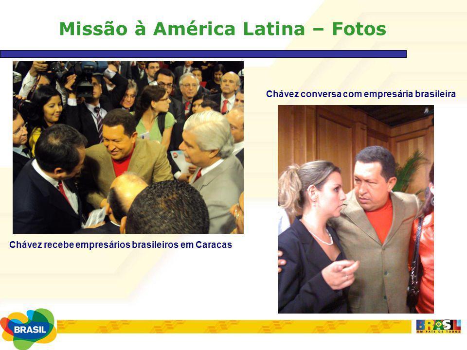 Missão à América Latina – Fotos Chávez recebe empresários brasileiros em Caracas Chávez conversa com empresária brasileira