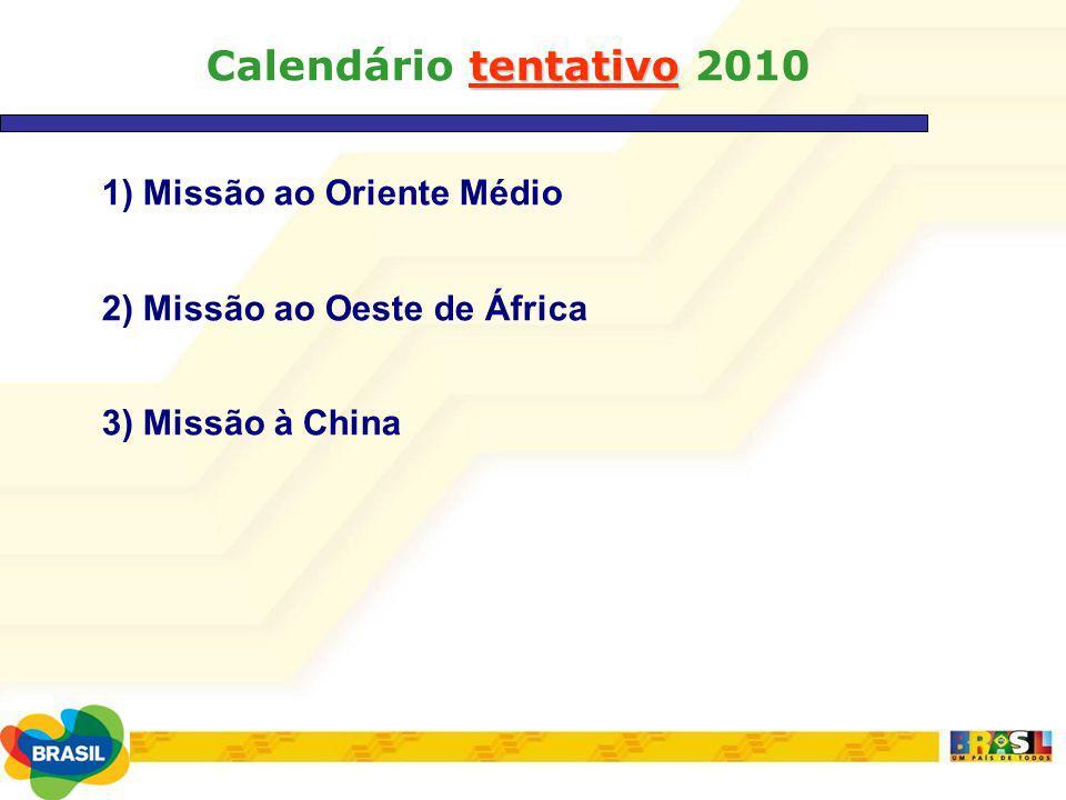 1) Missão ao Oriente Médio 2) Missão ao Oeste de África 3) Missão à China