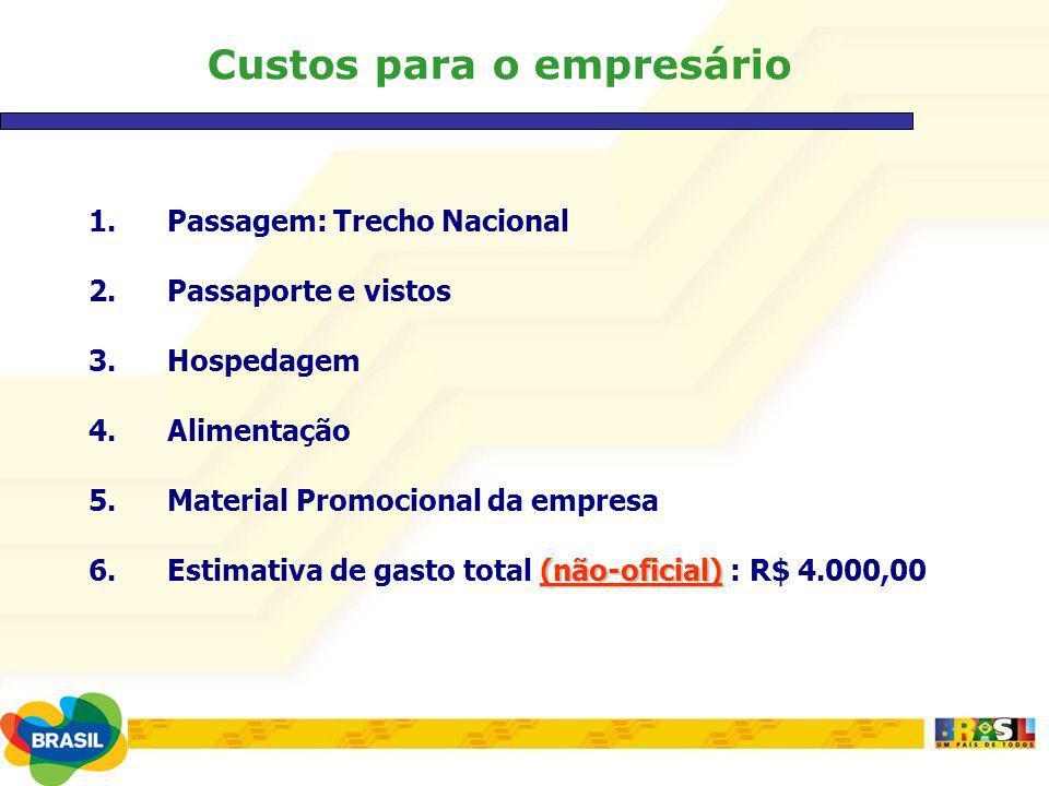 Custos para o empresário 1.Passagem: Trecho Nacional 2.Passaporte e vistos 3.Hospedagem 4.Alimentação 5.Material Promocional da empresa (não-oficial)