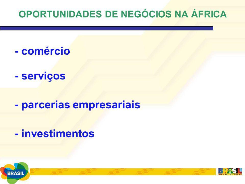 - comércio - serviços - parcerias empresariais - investimentos