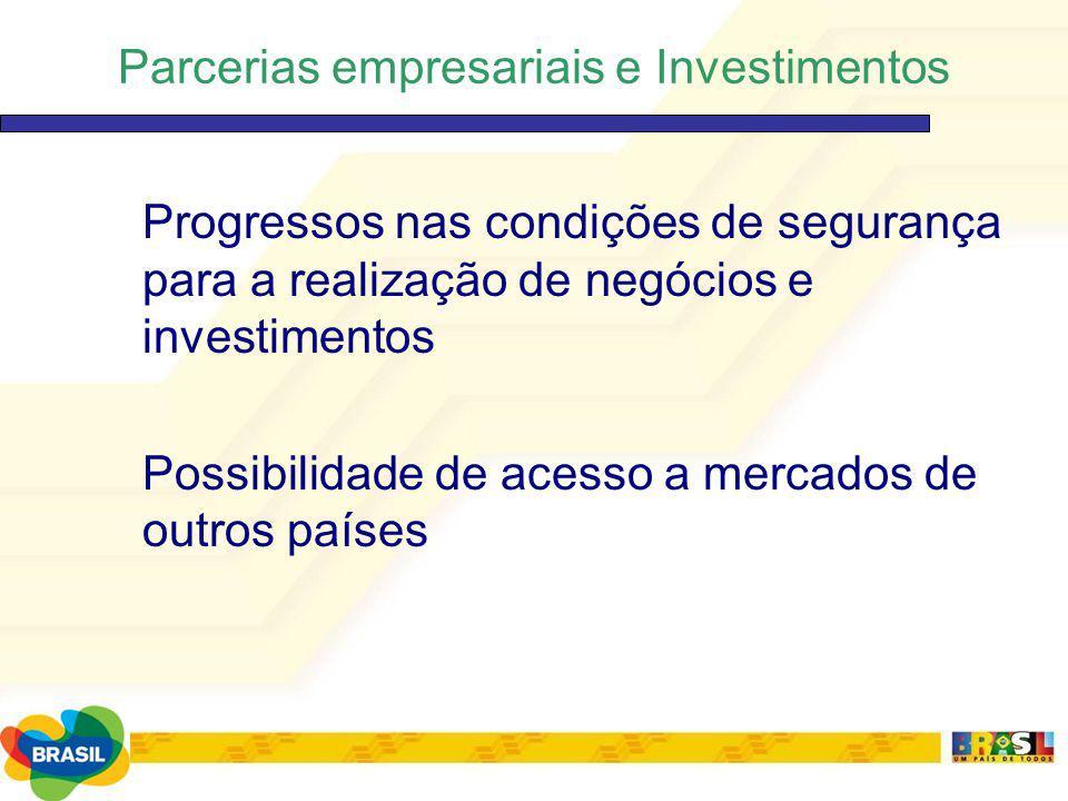 Parcerias empresariais e Investimentos Progressos nas condições de segurança para a realização de negócios e investimentos Possibilidade de acesso a m