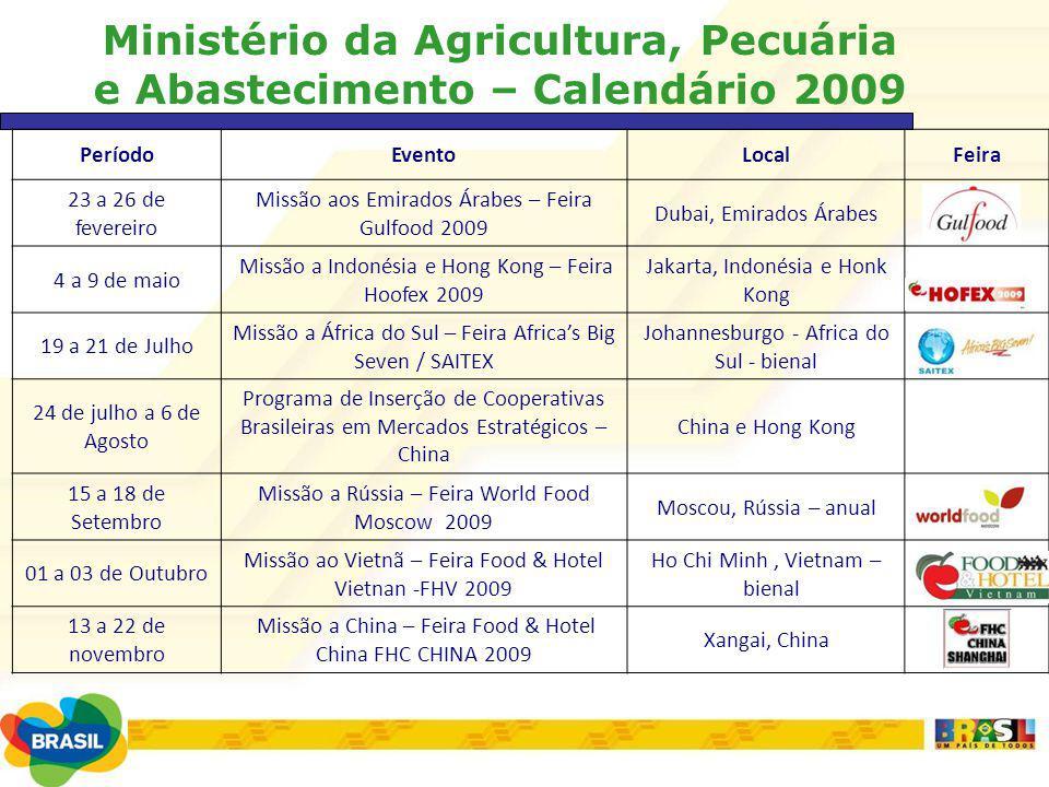 Ministério da Agricultura, Pecuária e Abastecimento – Calendário 2009 PeríodoEventoLocalFeira 23 a 26 de fevereiro Missão aos Emirados Árabes – Feira