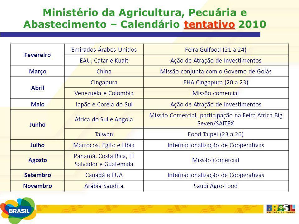 tentativo Ministério da Agricultura, Pecuária e Abastecimento – Calendário tentativo 2010 Fevereiro Emirados Árabes UnidosFeira Gulfood (21 a 24) EAU,