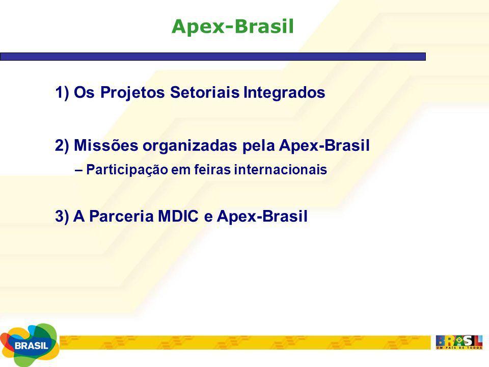 Apex-Brasil 1) Os Projetos Setoriais Integrados 2) Missões organizadas pela Apex-Brasil – Participação em feiras internacionais 3) A Parceria MDIC e A