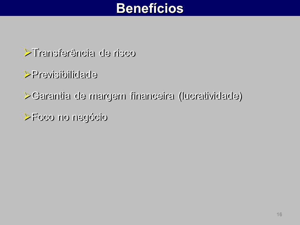 16Benefícios T ransferência de risco Previsibilidade Garantia de margem financeira (lucratividade) Foco no negócio T ransferência de risco Previsibili