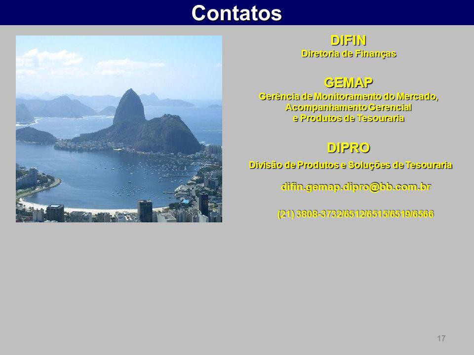 17ContatosDIFIN Diretoria de Finanças GEMAP Gerência de Monitoramento do Mercado, Acompanhamento Gerencial e Produtos de Tesouraria DIPRO Divisão de P