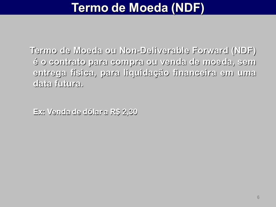 6 Termo de Moeda (NDF) Termo de Moeda ou Non-Deliverable Forward (NDF) é o contrato para compra ou venda de moeda, sem entrega física, para liquidação