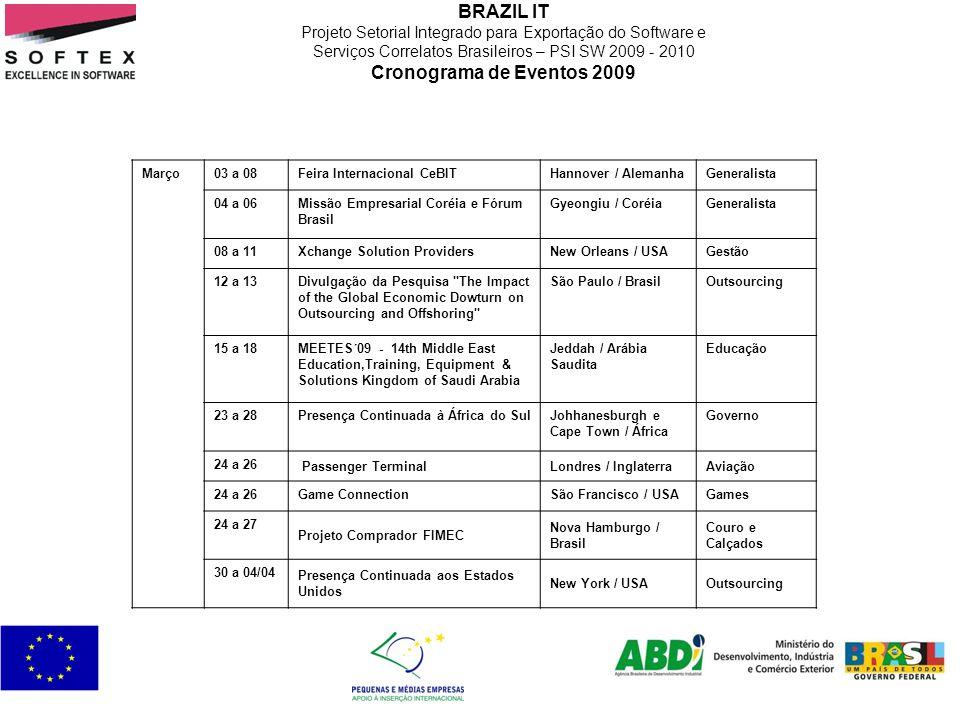 BRAZIL IT Projeto Setorial Integrado para Exportação do Software e Serviços Correlatos Brasileiros – PSI SW 2009 - 2010 Cronograma de Eventos 2009 Mar
