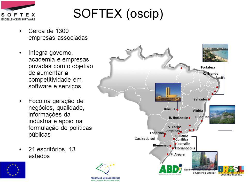 2 SOFTEX (oscip) Cerca de 1300 empresas associadas Integra governo, academia e empresas privadas com o objetivo de aumentar a competitividade em softw