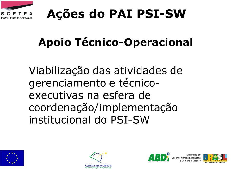 Apoio Técnico-Operacional Ações do PAI PSI-SW Viabilização das atividades de gerenciamento e técnico- executivas na esfera de coordenação/implementaçã
