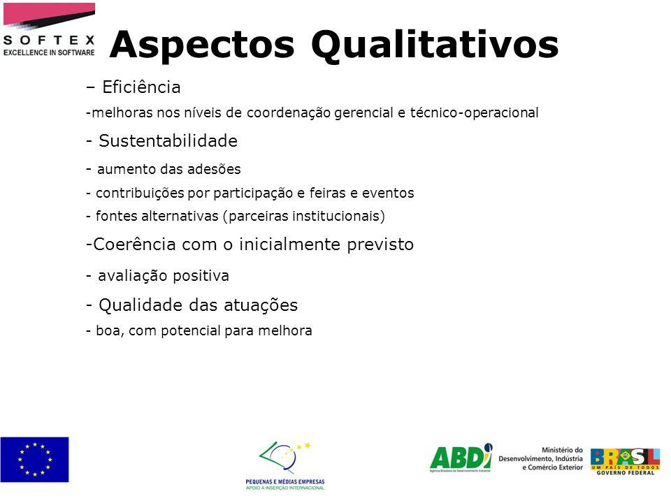 Aspectos Qualitativos – Eficiência -melhoras nos níveis de coordenação gerencial e técnico-operacional - Sustentabilidade - aumento das adesões - cont