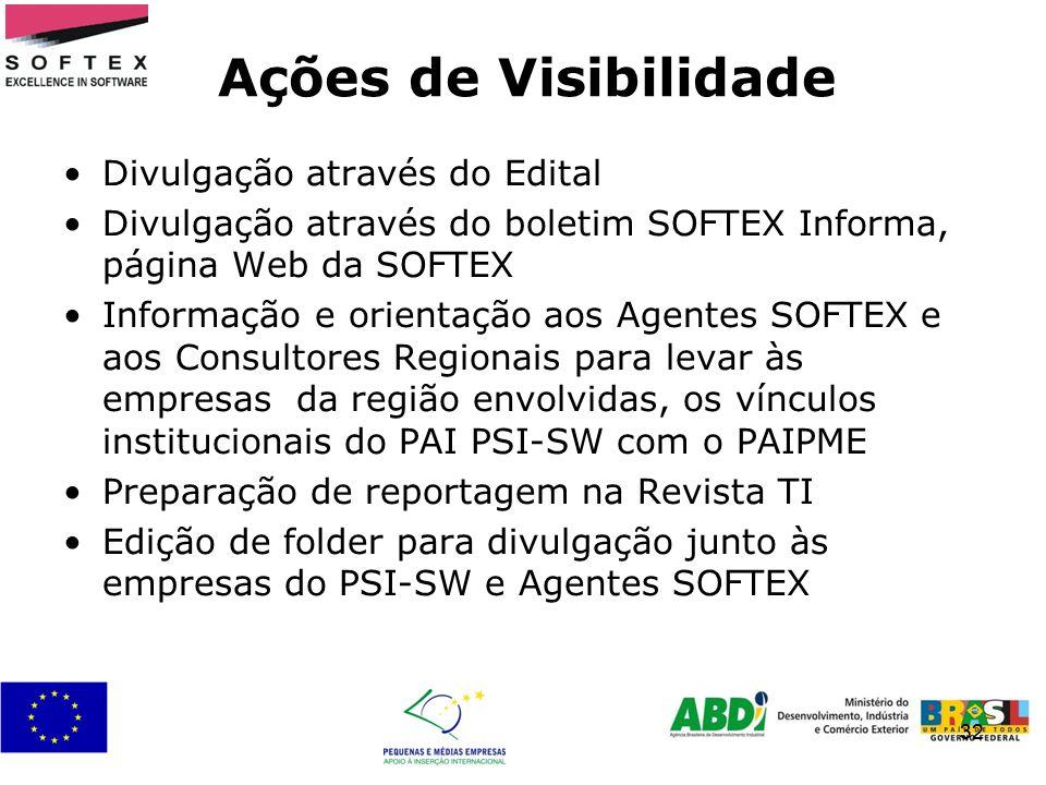 32 Ações de Visibilidade Divulgação através do Edital Divulgação através do boletim SOFTEX Informa, página Web da SOFTEX Informação e orientação aos A
