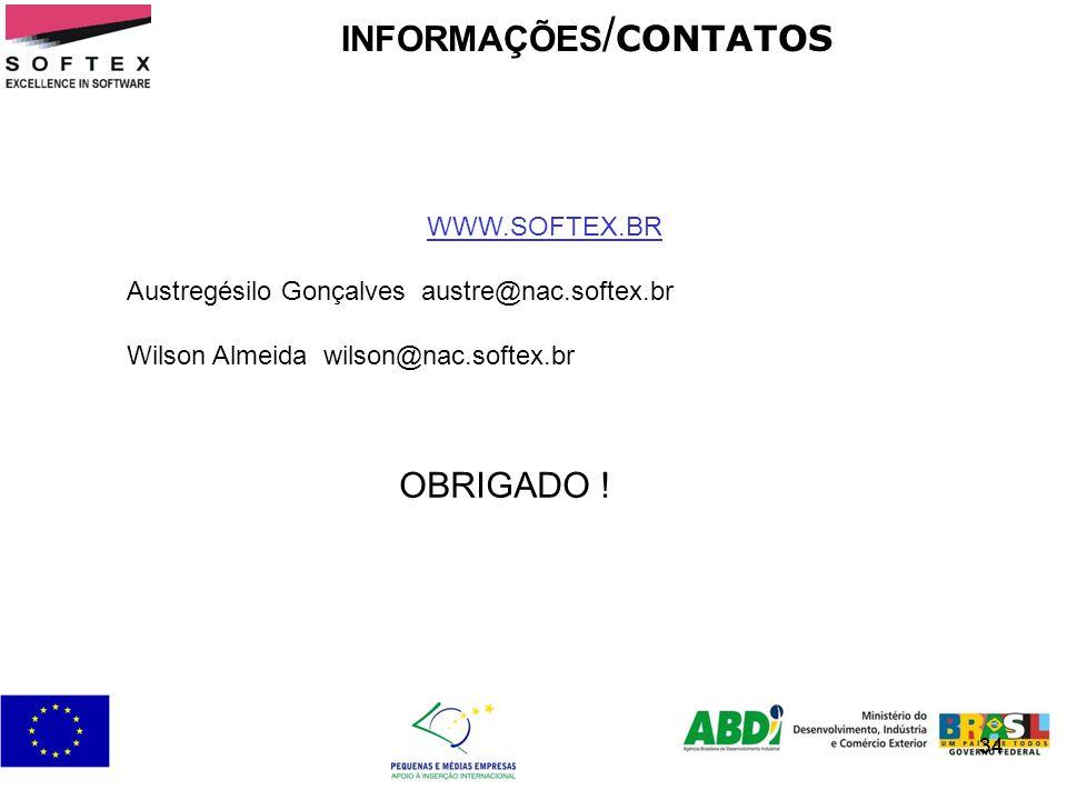 34 INFORMAÇÕES / CONTATOS 34 WWW.SOFTEX.BR Austregésilo Gonçalves austre@nac.softex.br Wilson Almeida wilson@nac.softex.br OBRIGADO !