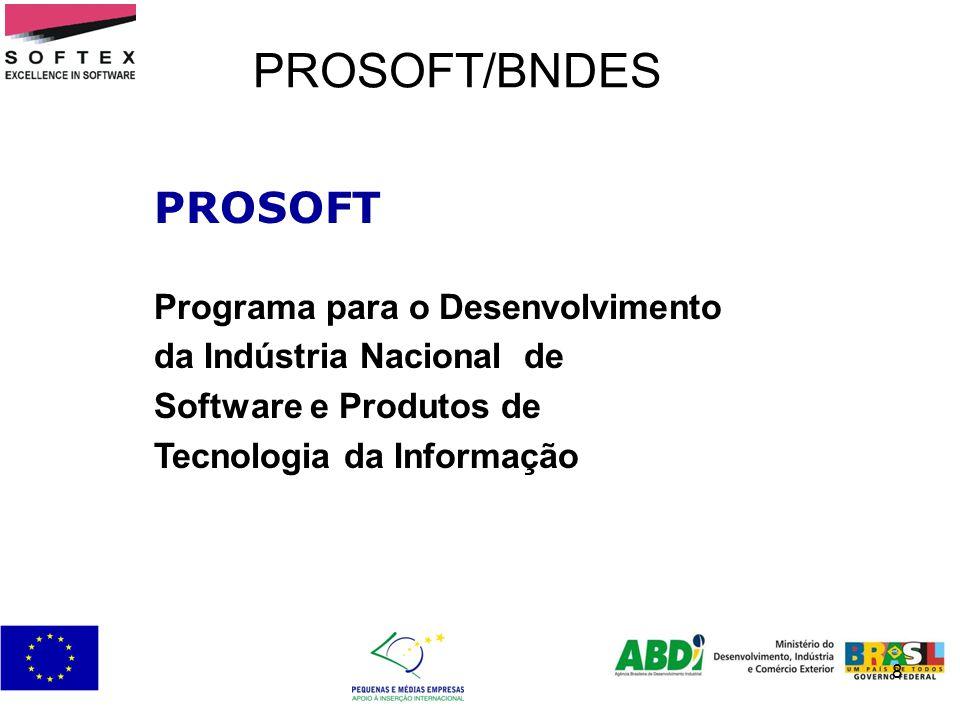 9 PROSOFT/BNDES – COMERCIALIZAÇÃO – EMPRESA – EXPORTAÇÃO Objetivos Difundir a utilização do software brasileiro Fomentar a melhoria da qualidade e a obtenção de certificações de produto e processo Incentivar as operações brasileiras de multinacionais do setor