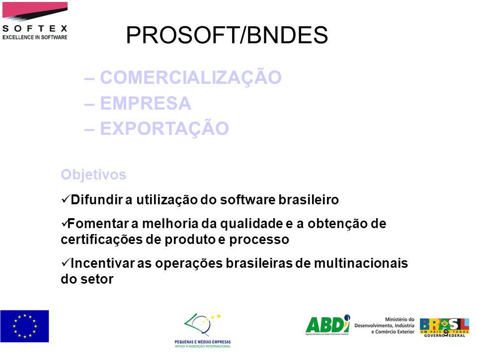 9 PROSOFT/BNDES – COMERCIALIZAÇÃO – EMPRESA – EXPORTAÇÃO Objetivos Difundir a utilização do software brasileiro Fomentar a melhoria da qualidade e a o