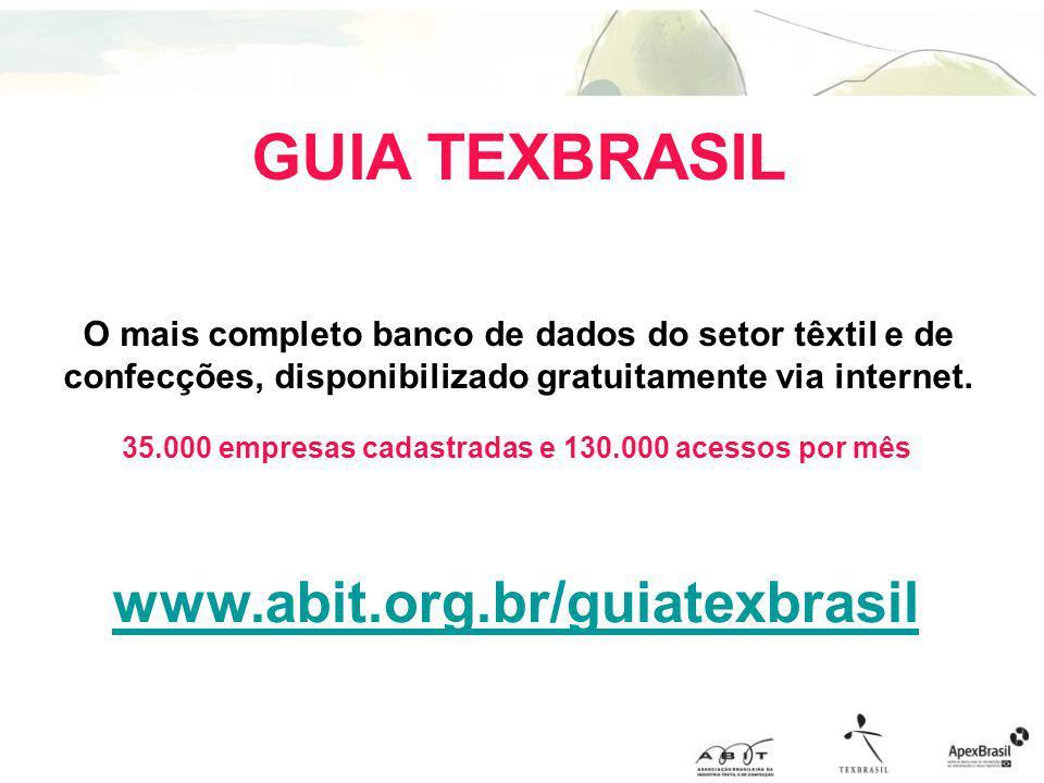 GUIA TEXBRASIL O mais completo banco de dados do setor têxtil e de confecções, disponibilizado gratuitamente via internet. 35.000 empresas cadastradas