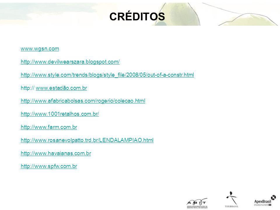 CRÉDITOS www.wgsn.com http://www.devilwearszara.blogspot.com/ http://www.style.com/trends/blogs/style_file/2008/05/out-of-a-constr.html http:// www.es