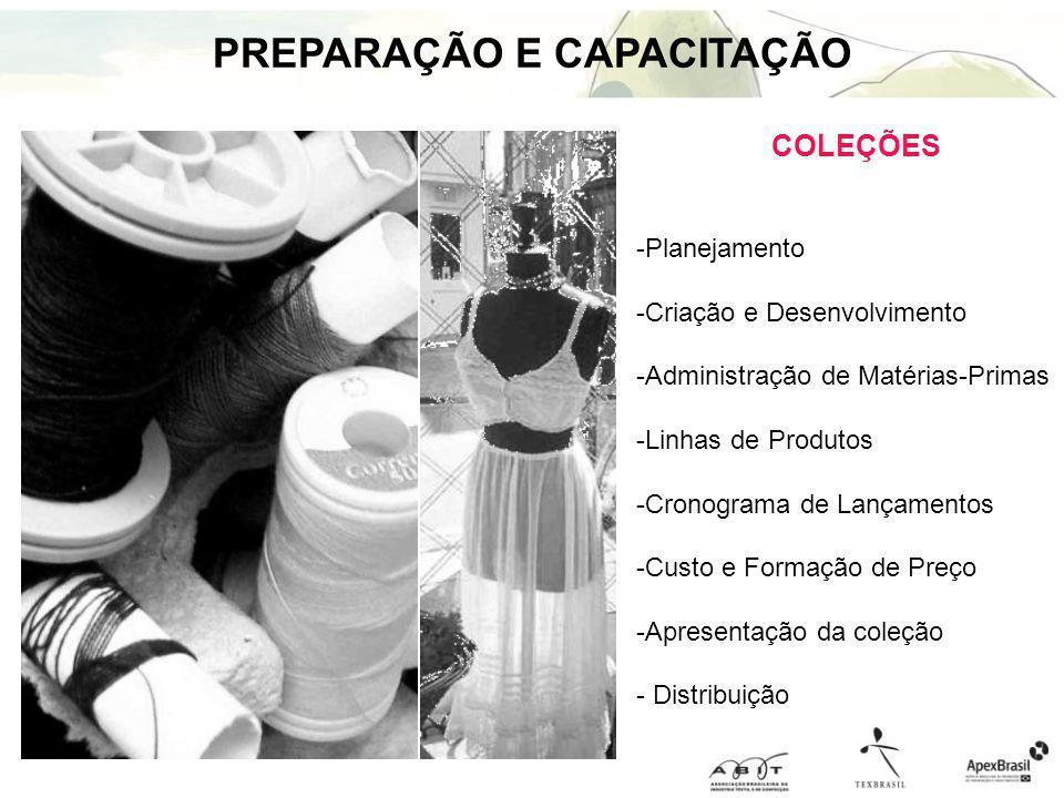 PREPARAÇÃO E CAPACITAÇÃO COLEÇÕES -Planejamento -Criação e Desenvolvimento -Administração de Matérias-Primas -Linhas de Produtos -Cronograma de Lançam