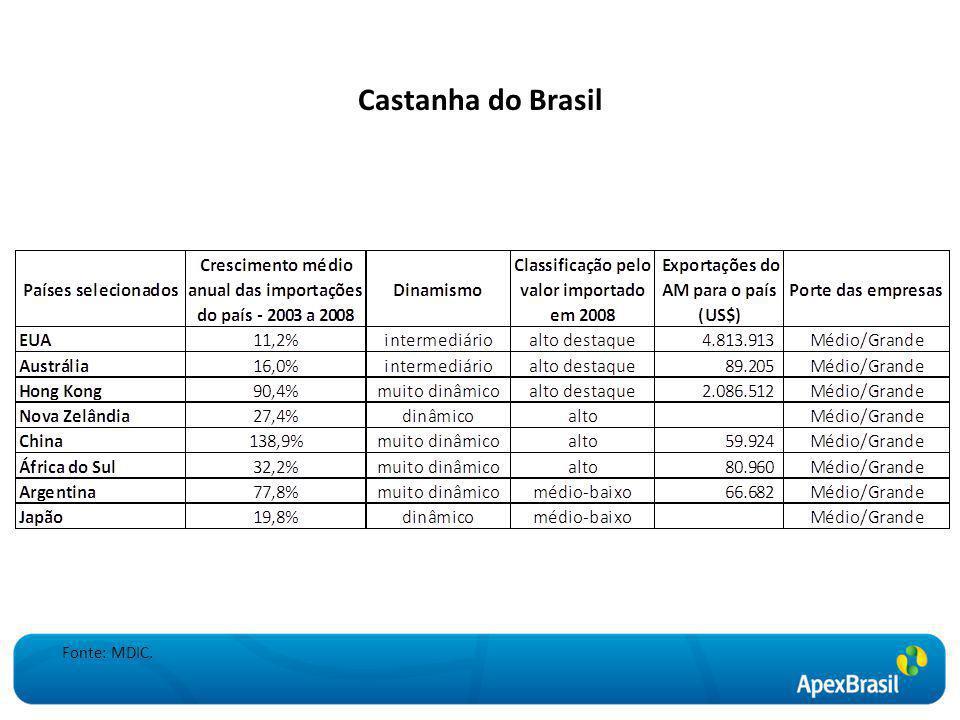 Castanha do Brasil Fonte: MDIC.