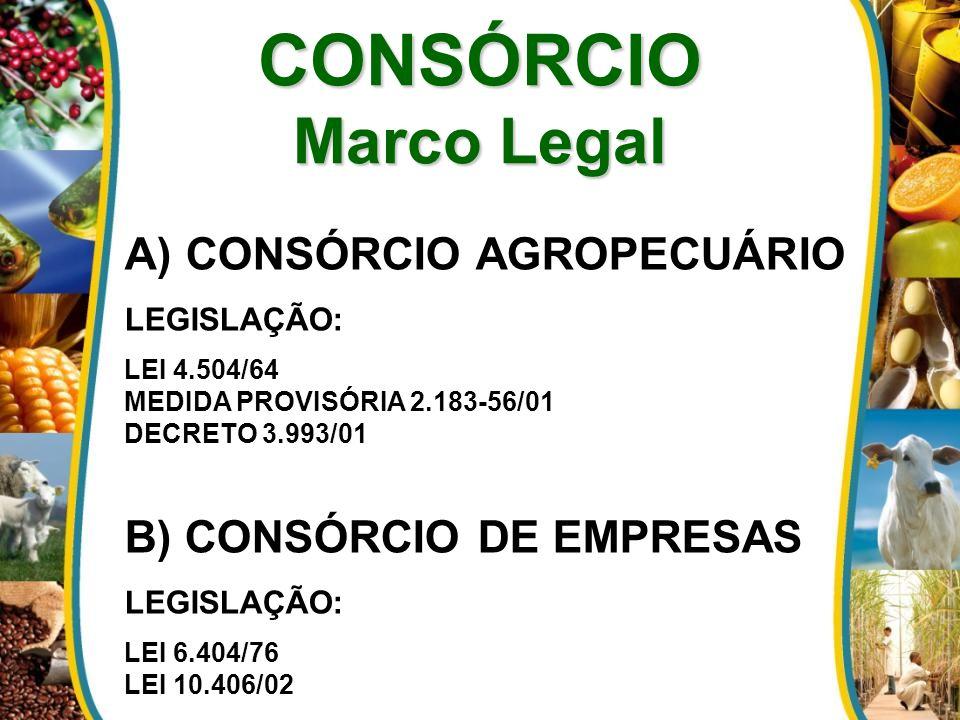 CONSÓRCIO Marco Legal A) CONSÓRCIO AGROPECUÁRIO LEGISLAÇÃO: LEI 4.504/64 MEDIDA PROVISÓRIA 2.183-56/01 DECRETO 3.993/01 B) CONSÓRCIO DE EMPRESAS LEGISLAÇÃO: LEI 6.404/76 LEI 10.406/02