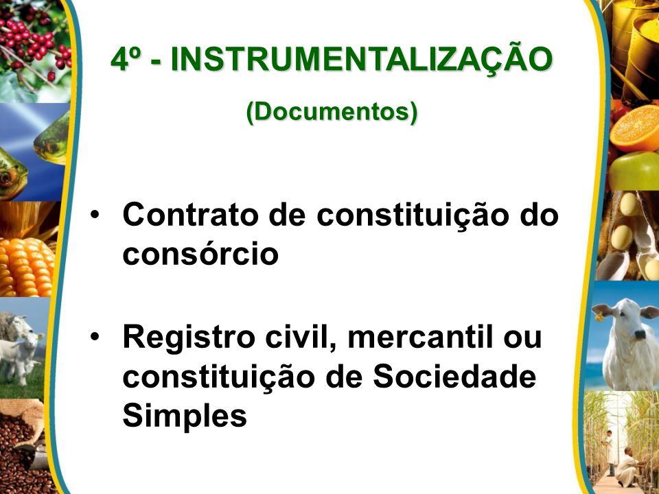 4º - INSTRUMENTALIZAÇÃO (Documentos) Contrato de constituição do consórcio Registro civil, mercantil ou constituição de Sociedade Simples