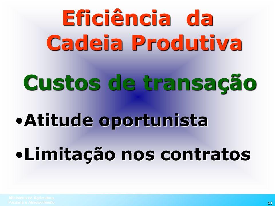 Ministério da Agricultura, Pecuária e Abastecimento 11 Eficiência da Cadeia Produtiva Custos de transação Atitude oportunistaAtitude oportunista Limit