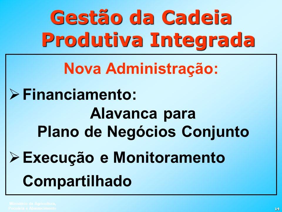 Ministério da Agricultura, Pecuária e Abastecimento 14 Gestão da Cadeia Produtiva Integrada Nova Administração: Financiamento: Alavanca para Plano de