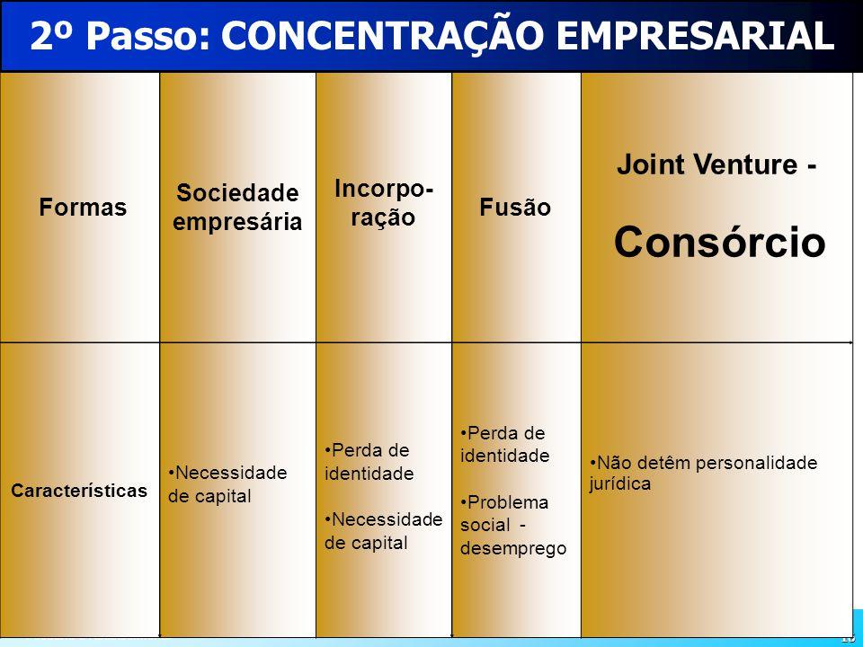 Ministério da Agricultura, Pecuária e Abastecimento 16 Formas Sociedade empresária Incorpo- ração Fusão Joint Venture - Consórcio Características Nece