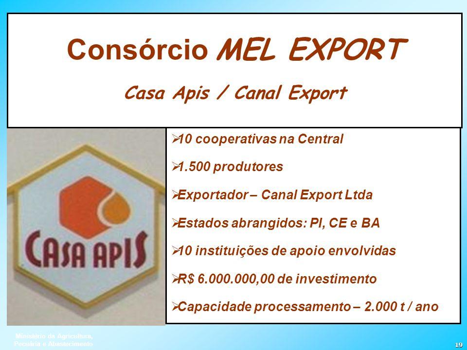 Ministério da Agricultura, Pecuária e Abastecimento 19 10 cooperativas na Central 1.500 produtores Exportador – Canal Export Ltda Estados abrangidos: