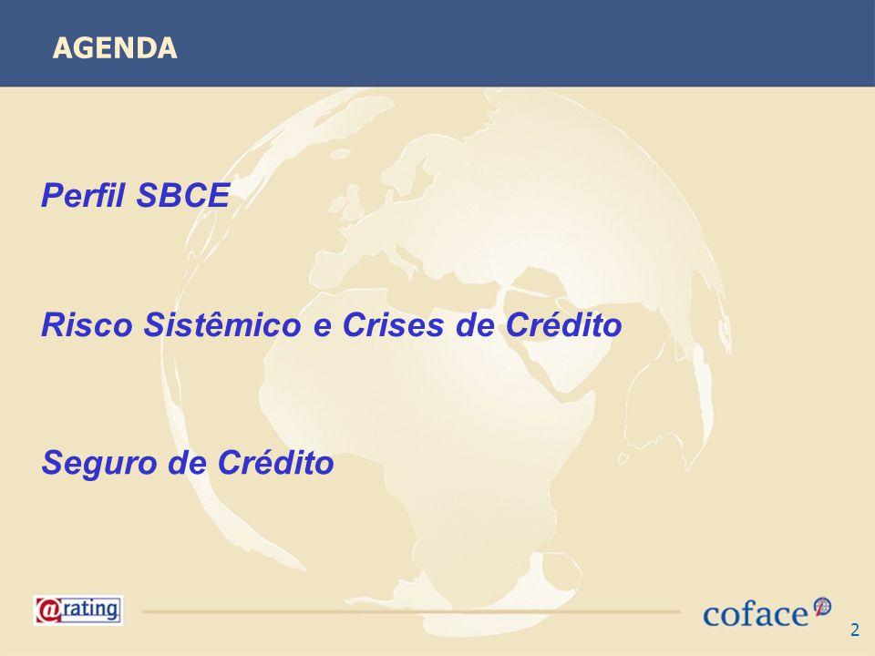 2 AGENDA Perfil SBCE Risco Sistêmico e Crises de Crédito Seguro de Crédito