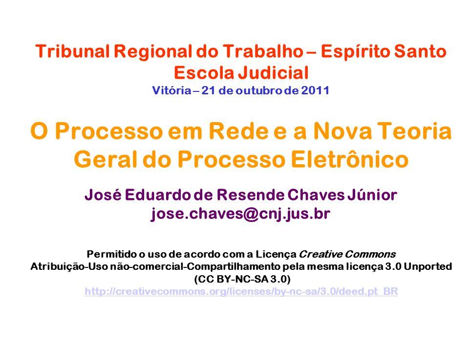 Tribunal Regional do Trabalho – Espírito Santo Escola Judicial Vitória – 21 de outubro de 2011 O Processo em Rede e a Nova Teoria Geral do Processo El