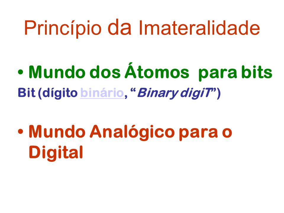 Princípio da Imateralidade Mundo dos Átomos para bits Bit (dígito binário, Binary digiT)binário Mundo Analógico para o Digital