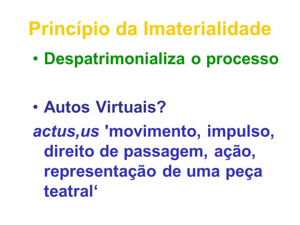 Princípio da Imaterialidade Despatrimonializa o processo Autos Virtuais? actus,us 'movimento, impulso, direito de passagem, ação, representação de uma