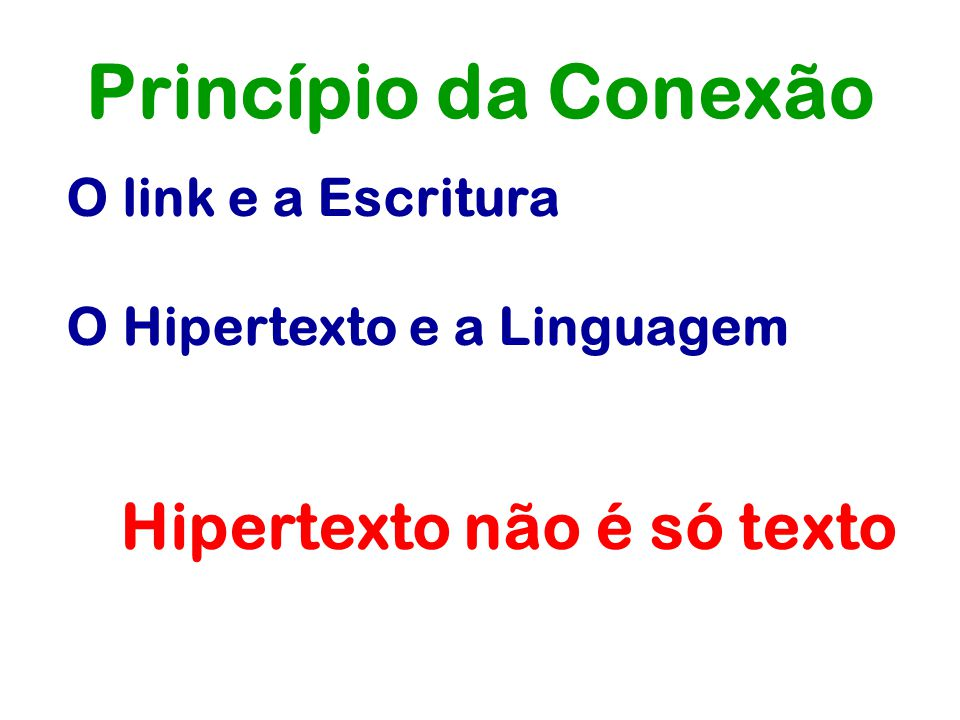 Princípio da Conexão O link e a Escritura O Hipertexto e a Linguagem Hipertexto não é só texto