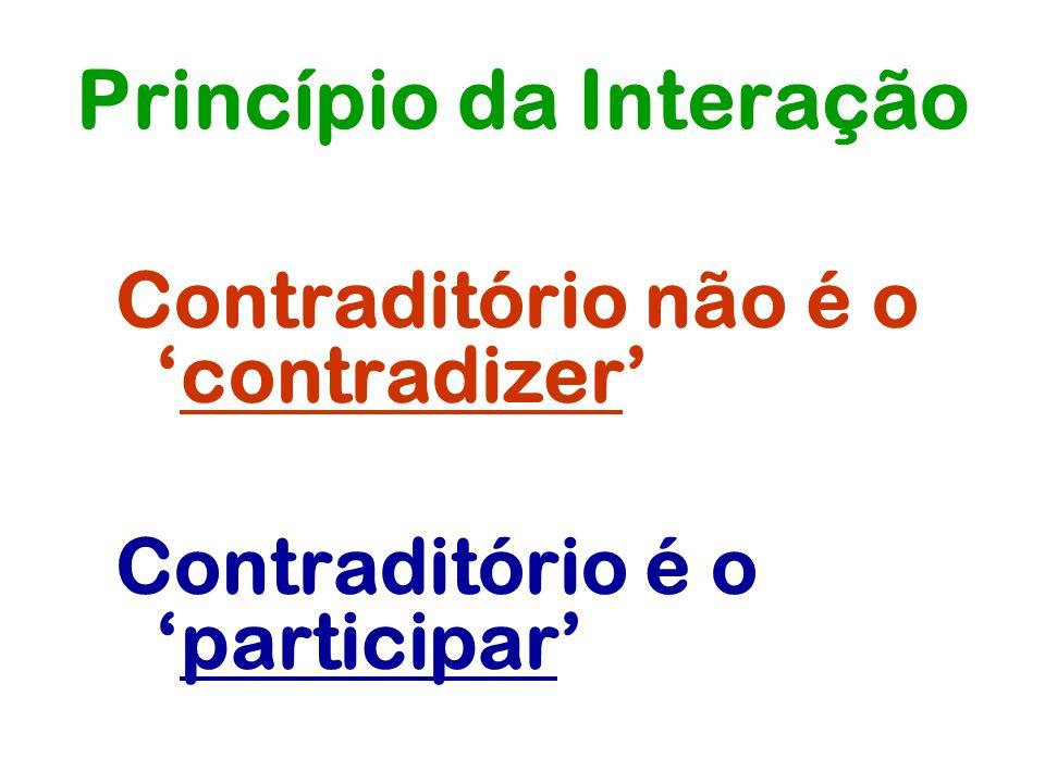 Princípio da Interação Contraditório não é ocontradizer Contraditório é oparticipar