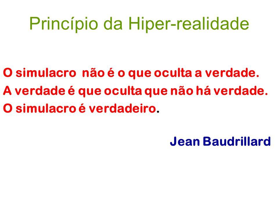 Princípio da Hiper-realidade O simulacro não é o que oculta a verdade. A verdade é que oculta que não há verdade. O simulacro é verdadeiro. Jean Baudr
