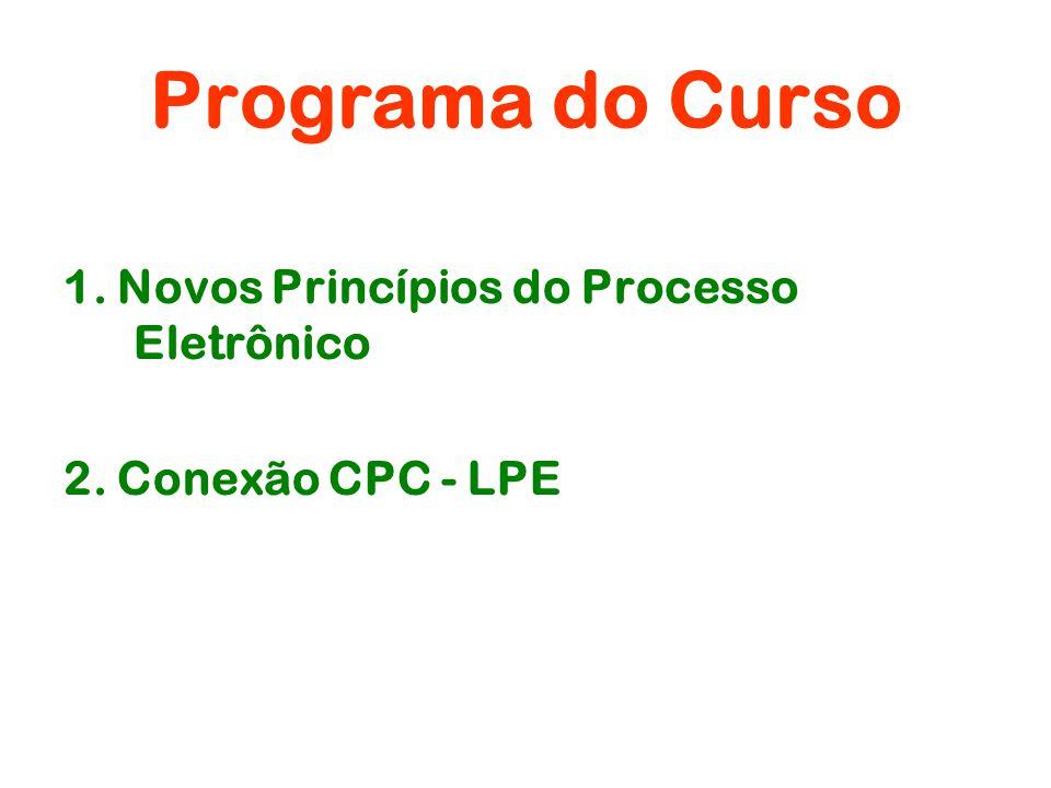 Programa do Curso 1. Novos Princípios do Processo Eletrônico 2. Conexão CPC - LPE