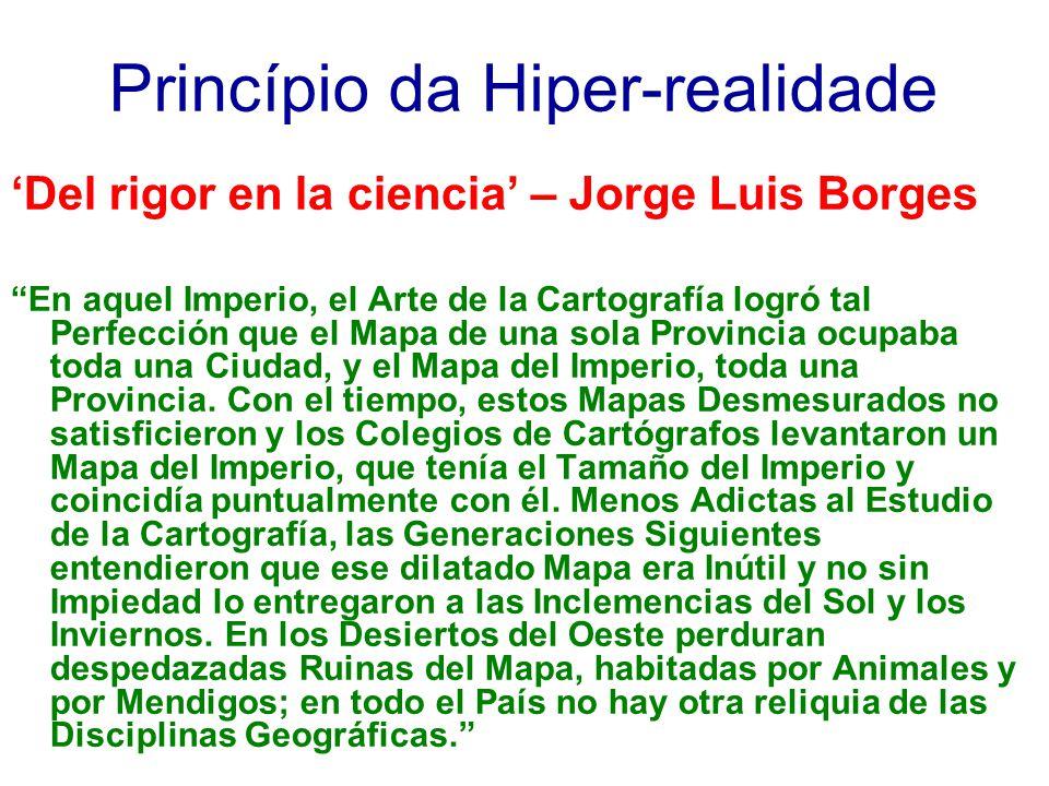 Princípio da Hiper-realidade Del rigor en la ciencia – Jorge Luis Borges En aquel Imperio, el Arte de la Cartografía logró tal Perfección que el Mapa
