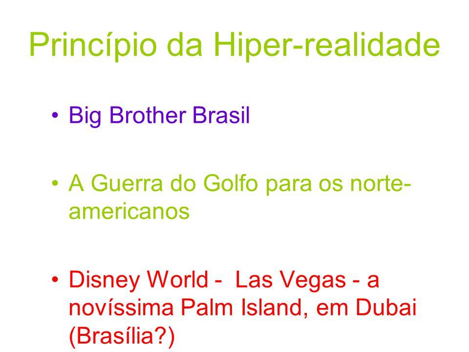 Princípio da Hiper-realidade Big Brother Brasil A Guerra do Golfo para os norte- americanos Disney World - Las Vegas - a novíssima Palm Island, em Dub
