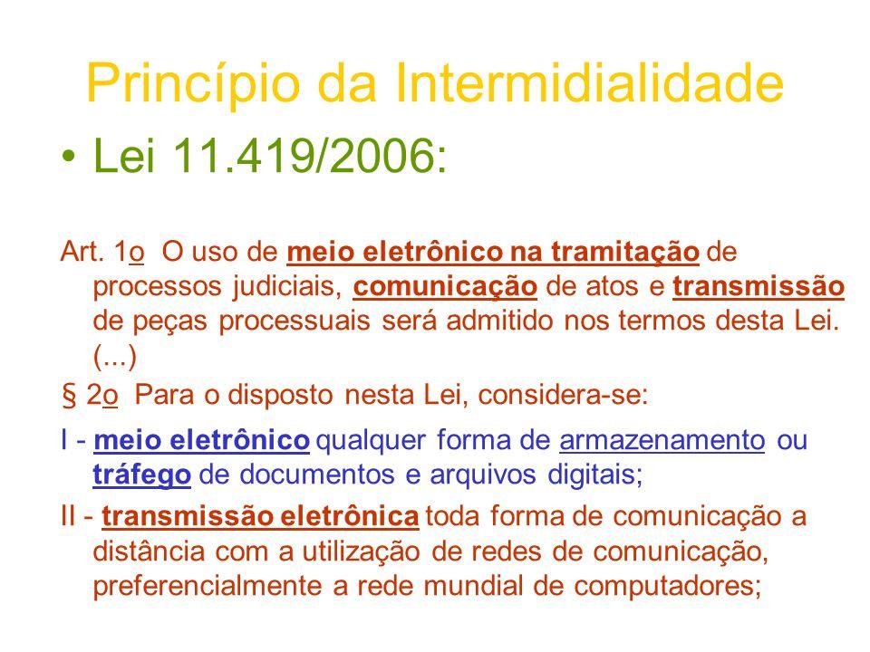 Princípio da Intermidialidade Lei 11.419/2006: Art. 1o O uso de meio eletrônico na tramitação de processos judiciais, comunicação de atos e transmissã