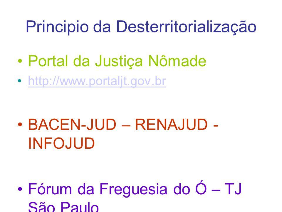 Principio da Desterritorialização Portal da Justiça Nômade http://www.portaljt.gov.br BACEN-JUD – RENAJUD - INFOJUD Fórum da Freguesia do Ó – TJ São P
