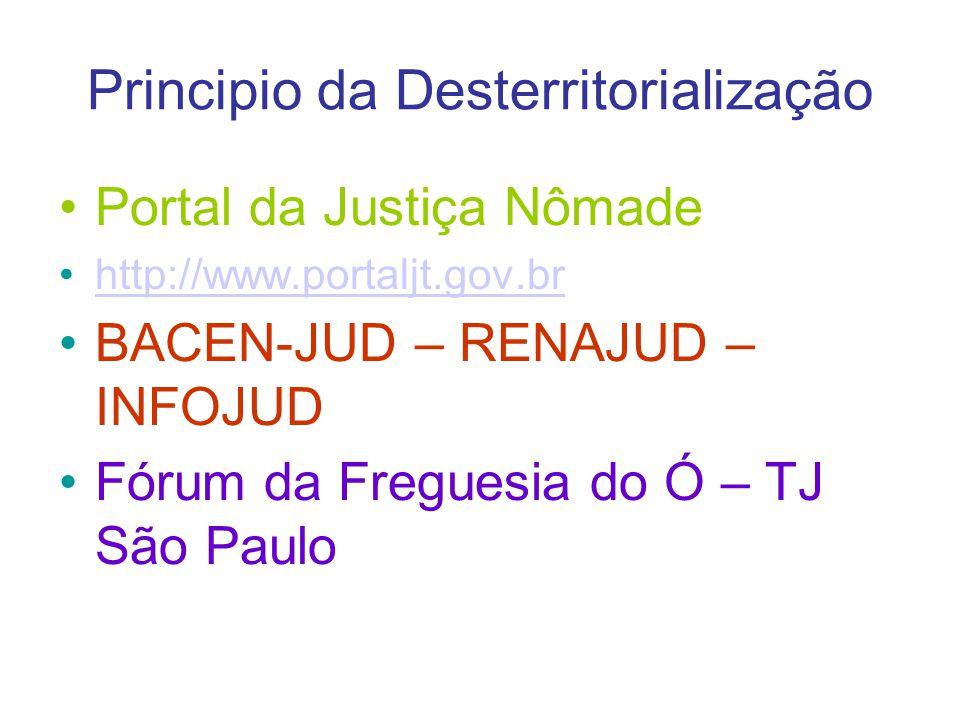 Principio da Desterritorialização Portal da Justiça Nômade http://www.portaljt.gov.br BACEN-JUD – RENAJUD – INFOJUD Fórum da Freguesia do Ó – TJ São P