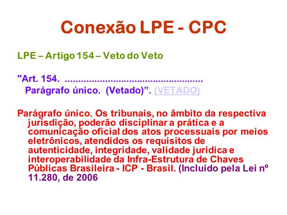 Conexão LPE - CPC LPE – Artigo 154 – Veto do Veto