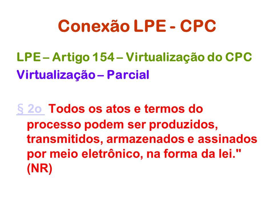 Conexão LPE - CPC LPE – Artigo 154 – Virtualização do CPC Virtualização – Parcial § 2o § 2o Todos os atos e termos do processo podem ser produzidos, t